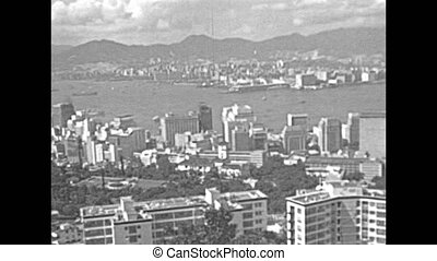 Victoria Peak tower - Aerial view of Victoria Harbour...