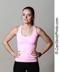 Portrait young sporty woman fitness girl