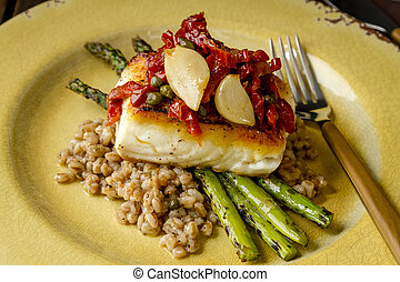 Fresh halibut filet on bed of farro - Pan seared halibut...