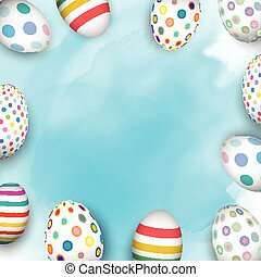 easter eggs on watercolour background 2103 - Colourful...