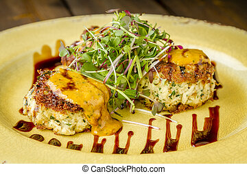 Blue crab cakes with balsamic glaze - Three pan seared blue...