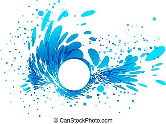 Splashing water with white circle frame - Splash wave, white...