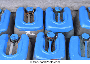 old used plastic cans
