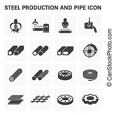 Stel Metal Icon - Steel and metal production industry vector...