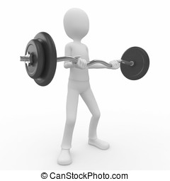 3d man with barbell - 3d man lifting heavy barbell isolated...