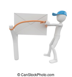 3d man post man with envelope