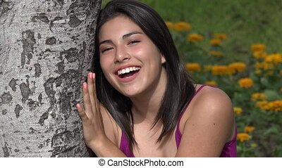 Happy Teen Girl Talking
