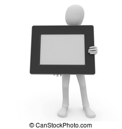 3d man with blank photo frame