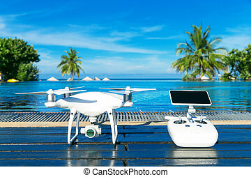 drone quad copter with high resolution digital camera and...