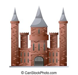 Medieval castle with high towers made of brown brick...