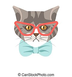 Siberian cat with red glasses and blue tie portrait -...