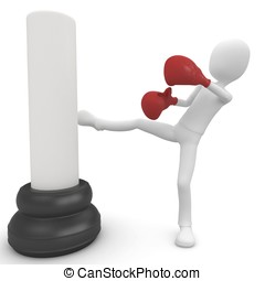 3d man boxing and kicking
