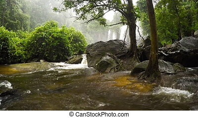 Water Swirls around Boulders after Plunge from Waterfall in...