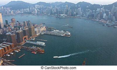 Overlooking Shot of Boat Traffic in Victoria Harbour, Hong...