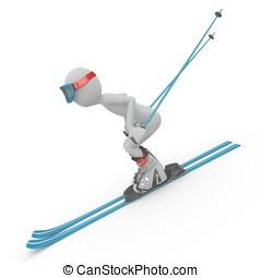 3D, 人, スキー, 下方に, 坂