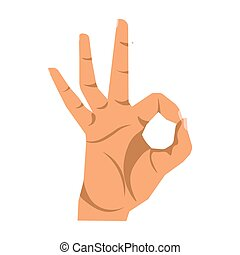 Okay hand sign close up illustration on white background