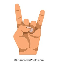 Rock and Roll gesture hand sign isolated on white background...