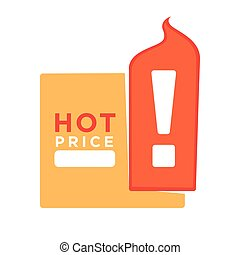Hot price informative sticker with exclamation point logo...