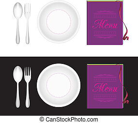 Plate, fork, spoon, menu