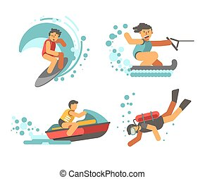 Summer water healthy activities vector poster on white...
