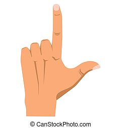 Human arm with straight forefinger up, nonverbal...