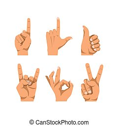 Human finger gesturing flat vector poster on white