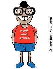 cute nerd character cartoon vector illustration