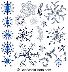 Collection snowflakes and design elements - Collection dark...