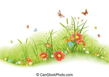 Summer floral banner - Vector green grass, flowers and...
