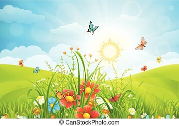 Summer meadow background - Vector summer background with...