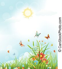 Summer vector background with flowers, green grass,...