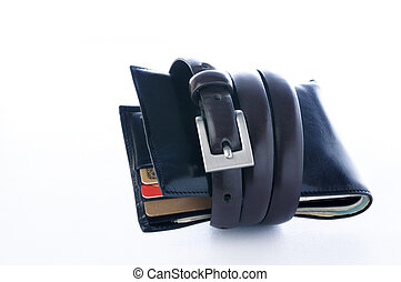 Tightening the wallet with a belt over white background