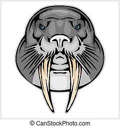 Walrus head mascot - vector illustration isolated on white