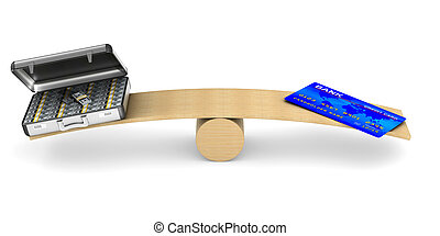 credit card and money on scale. Isolated 3D illustration