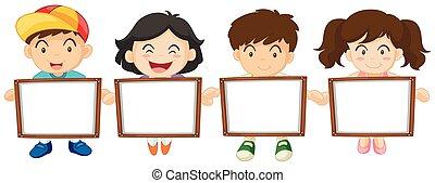 Kids holding white board illustration