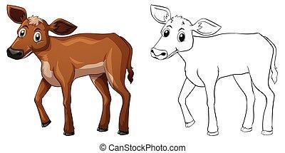Animal outline for little cow illustration