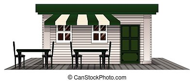 Coffee shope with green door and roof illustration