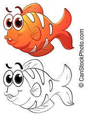 Animal outline for clownfish illustration