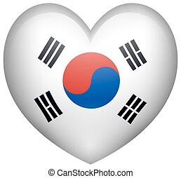 Heart shape with Korean flag