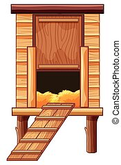 Chicken coop made of wood illustration