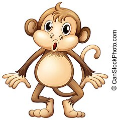 Cute monkey standing alone illustration