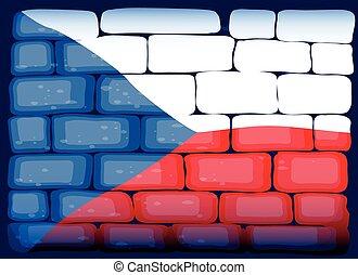 Czech Republic flag on brickwall illustration