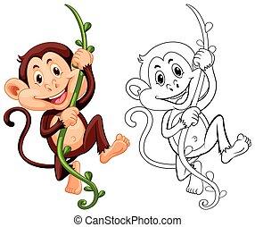 Drafting animal for monkey on vine