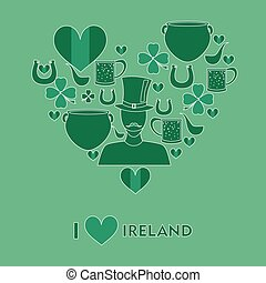 irish love green - set of icons in the style of a flat...