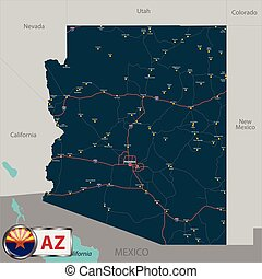 Map of state Arizona, USA - Vector set of Arizona state with...