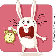 Stressed Bunny with Alarm Clock Vector.eps - Drawing of a...