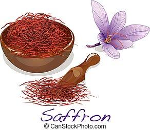 Saffron flower set. Vector. - Saffron flower set. Vector...