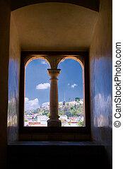 Mexico Oaxaca Santo Domingo monastery view from window with...