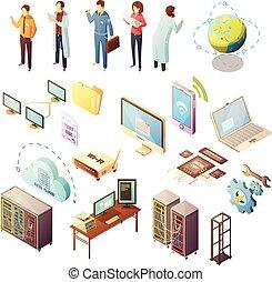 Datacenter Isometric Icons Set - Datacenter Isometric...