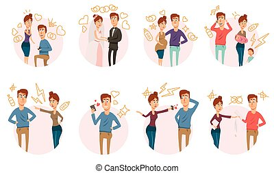 Marriage Divorce Icons Collection